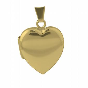 18ct Gold 21x19mm plain heart shaped Locket