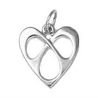 Silber 16x15mm umschlungen Herzanhänger