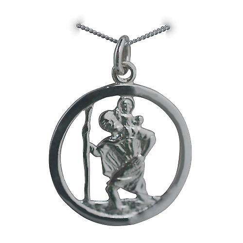 9ct White Gold 25mm round pierced St Christopher Pendant with a curb Chain 16 inches Only Suitable for Children