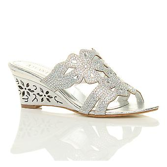 Ajvani womens mid high heel wedge diamante evening bridal wedding prom mules shoes sandals
