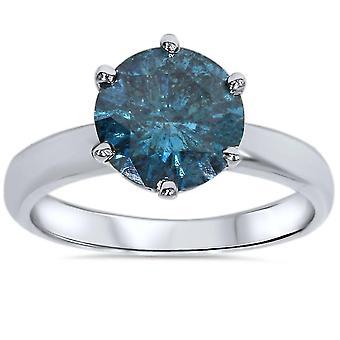 2ct blu diamante solitario anello di fidanzamento 14k oro bianco