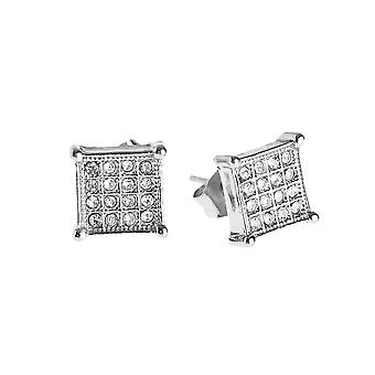 Iced out bling earrings box – SQUARE 8 mm silver