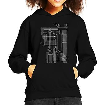 Dragon 32 Computer Schematic Kid's Hooded Sweatshirt