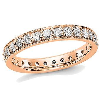 Ladies 14K Rose Pink Gold 1.00 Carat (ctw Color H-I, SI2-I1) Diamond Eternity Wedding Band