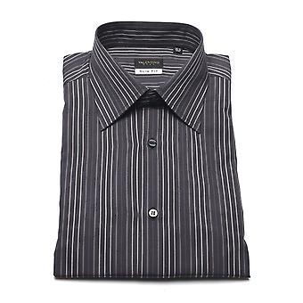 Valentino Herren Baumwoll Kleid Shirt Nadelstreifen anthrazit grau