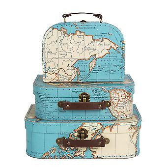 Sass & Belle Set of 3 World Map Suitcases Storage Boxes