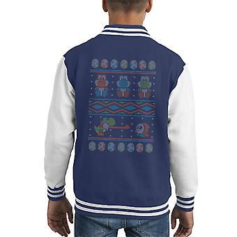 Super Mario Yoshi Varsity sweter sweter wzór Kid