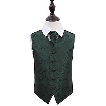 Emerald Green Paisley Wedding Waistcoat & Cravat Set for Boys
