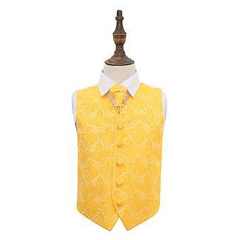 Gold Paisley Wedding Waistcoat & Cravat Set for Boys