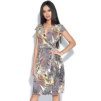 Abstract Olive Palm Print Wrap Dress