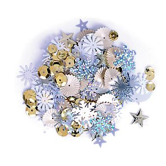 20g Assorted Gold, Silver & White Sequins with Holes for Pins