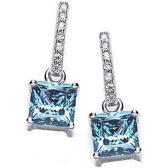 Cavendish French Delicate Square Solitaire Earrings - Silver/Blue