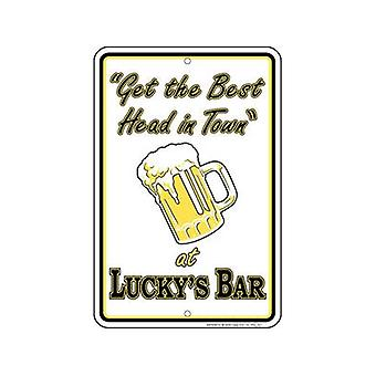 Luckys Bar Embossed Metal Sign