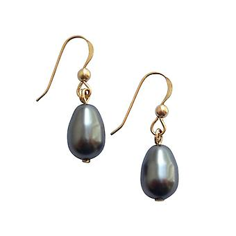 Gemshine - women's - earring - Pearl - Tahiti - grey - dripping - gold plated - 11 mm