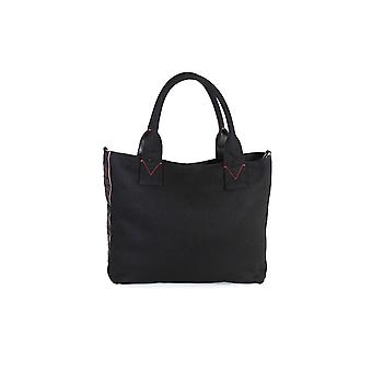 PINKO BLACK CANVAS CRESTOSO MEDIUM SHOPPER