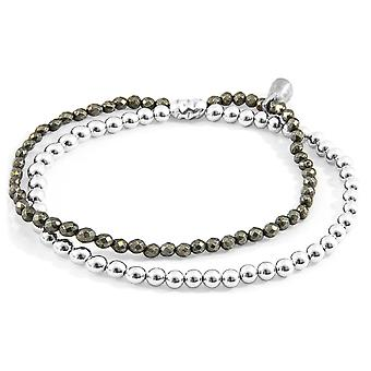 Anchor & Crew Brown Pyrite Harmony Silver and Stone Bracelet