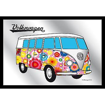 Licenza di specchio VW Bulli hippie VW stampato specchi da parete, multicolore, nero, plastica framing legno.