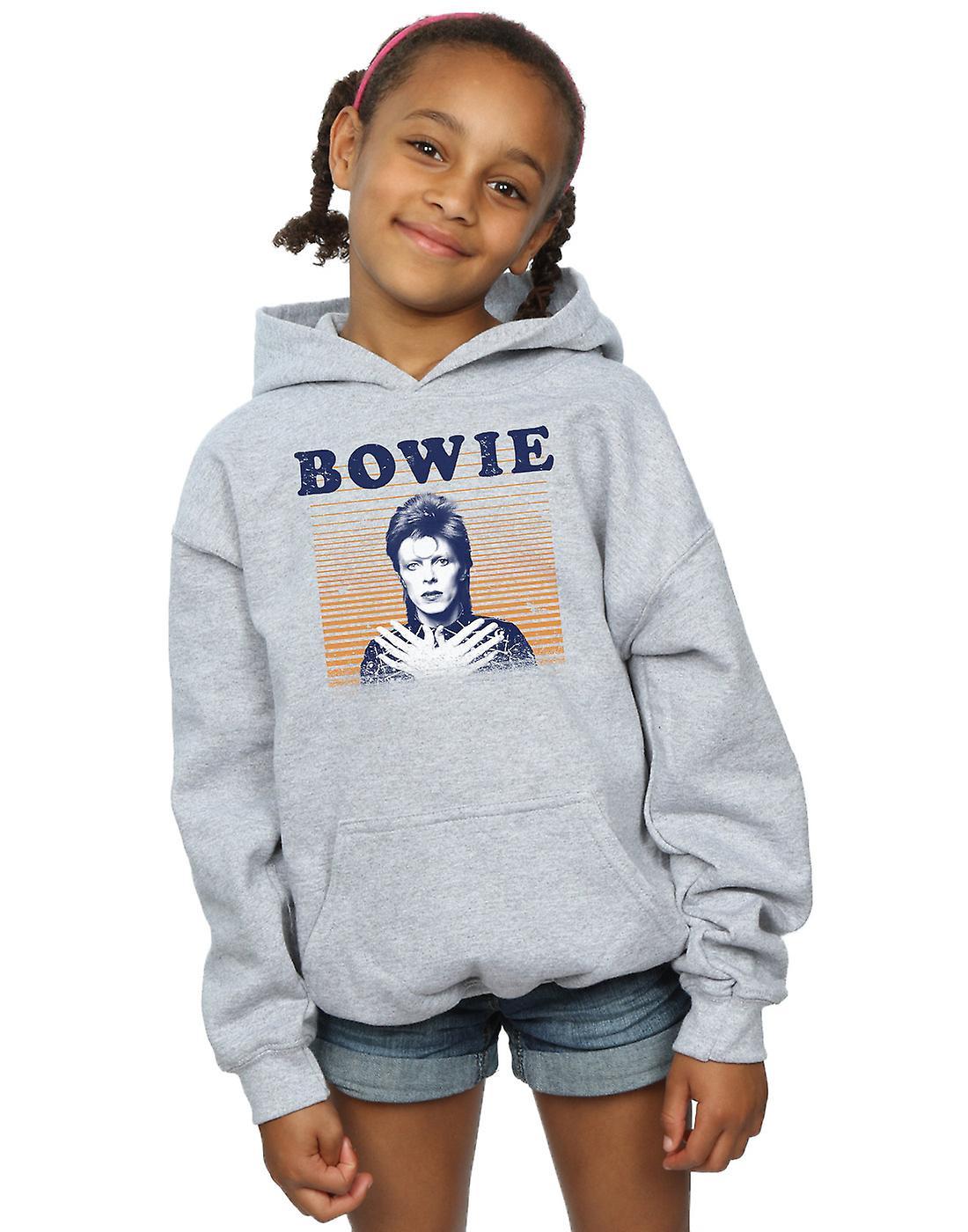 David Bowie Girls Orange Stripes Hoodie