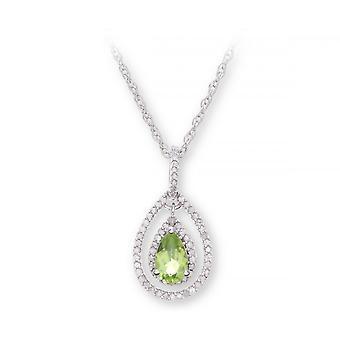 Stjärnan vigselringar Sterling Silverhalsband med Peridot pärla sten hängande och diamanter
