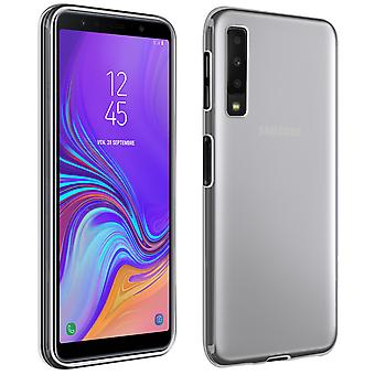 Silicone case, Glossy & matte back cover for Galaxy A7 2018 - Frosted white