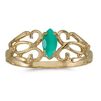 14 k Gelb Gold Marquise Smaragd Filagree Ring