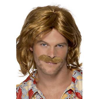 Breve parrucca marrone, di 1970 Super Trouper parrucca e baffi. Mens