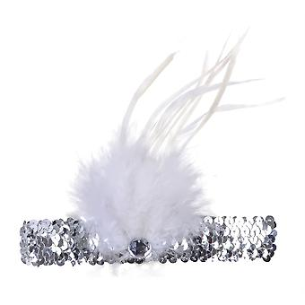 Flapper Stirnband Silver/White Feather