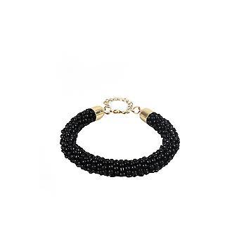 Lovemystyle negro con cuentas pulsera con broche de oro