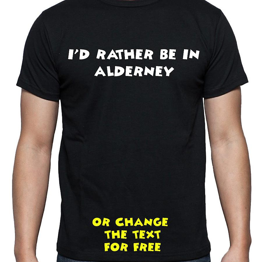 I'd Rather Be In Alderney Black Hand Printed T shirt
