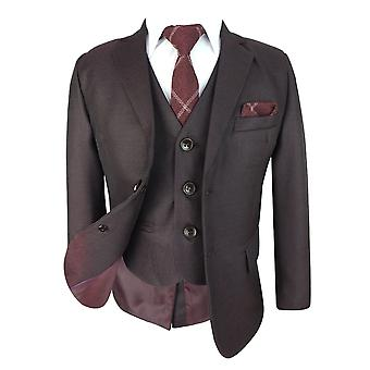 Boys Tailored Fit Burgundy 6 Piece Complete Suit Set