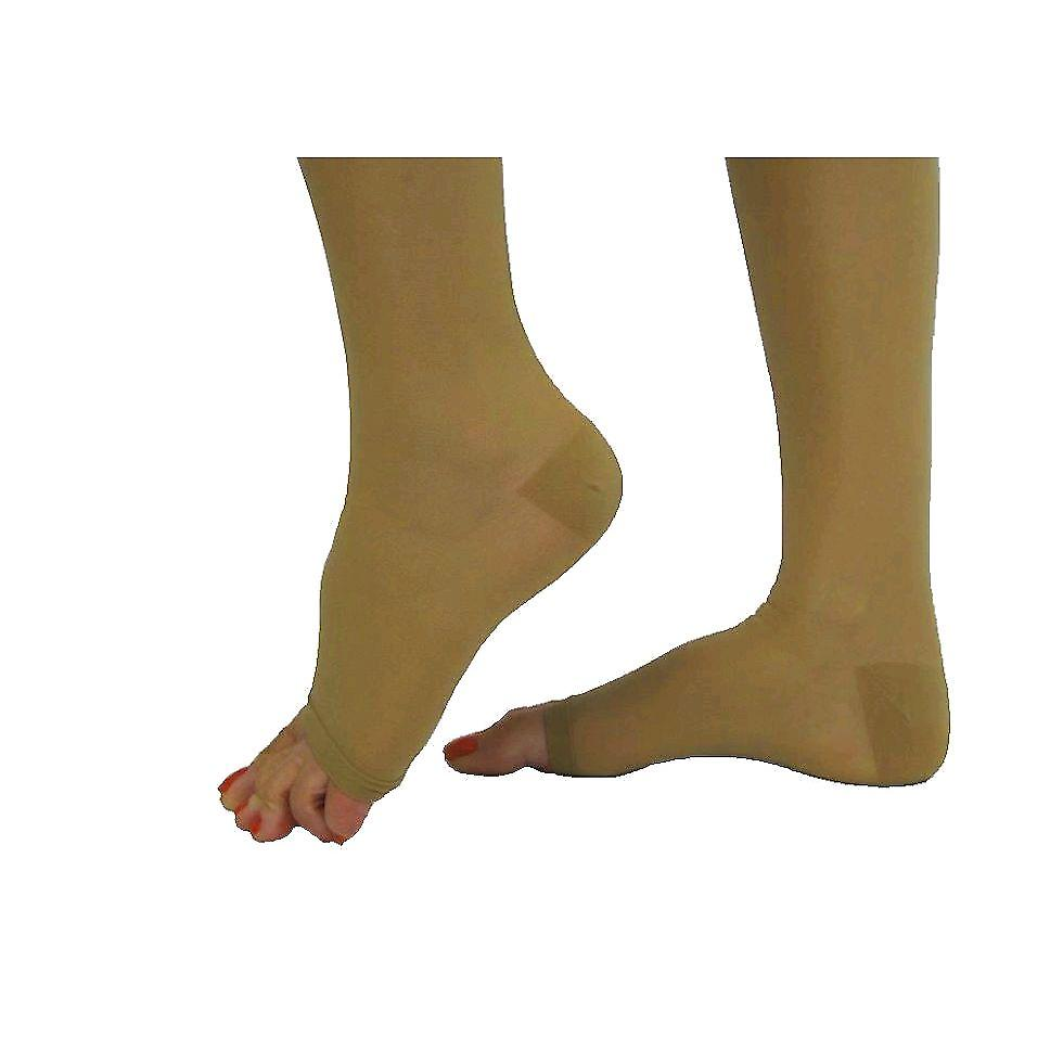 Pebble UK Signature Sheer Open Toe Compression Thigh Highs [Style P266] Silky Nude  XL