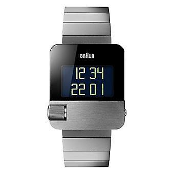 Braun digital klokke med skinn stropp BN0106SLBTG