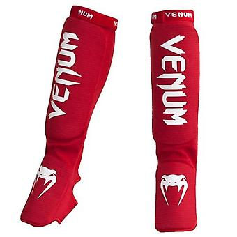Venum Adult Unisex Kontact MMA Slip on Shinguards with Instep - Red - OSFA