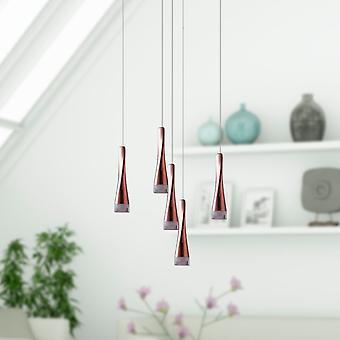 Hanger plafond licht Chrome moderne stijl opknoping licht 5 hanger ronde luifel