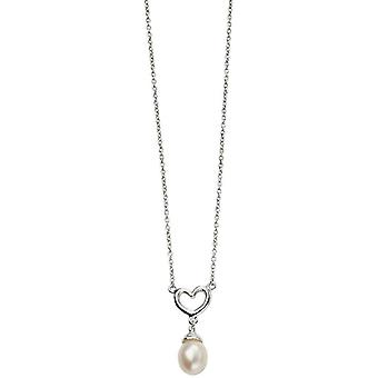 Coeur de débuts et collier de perles - argent