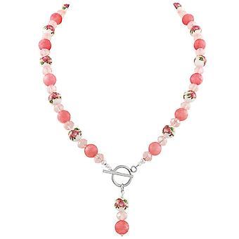 Colección eterno encanto Coral Rosa Floral declaración cuentas collar