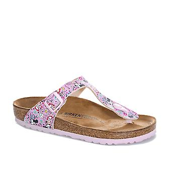 Junior Girls Birkenstock Gizeh Lovely Minnie Sandals In Pink- Slip-On Toe Thong