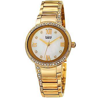 Burgi Women's Quartz Mother of Pearl Swarovski Accented Bracelet Watch BUR187YG