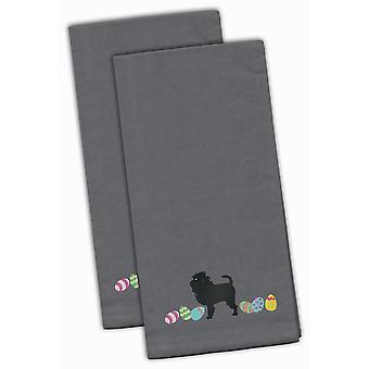 Аффенпинчер Пасхи серый Вышитые кухонные полотенца комплект из 2
