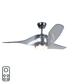 QAZQA Decke Ventilator Sirocco LED Chrom