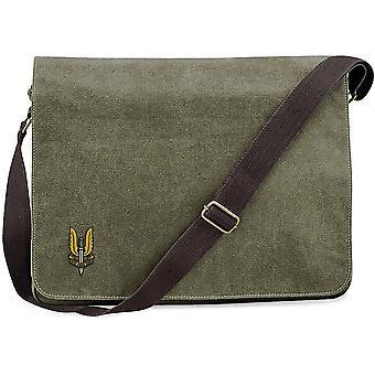 SAS Special Air Service - Licensed British Army Embroidered Vintage Canvas Despatch Messenger Bag