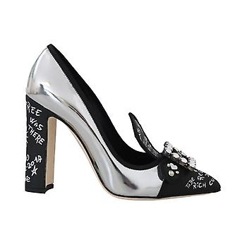 Black Silver Leather Crystal Pumps