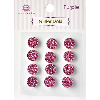 Queen & Co Glitter Dots 8mm Self-Adhesive 12/Pkg-Pink GD-792