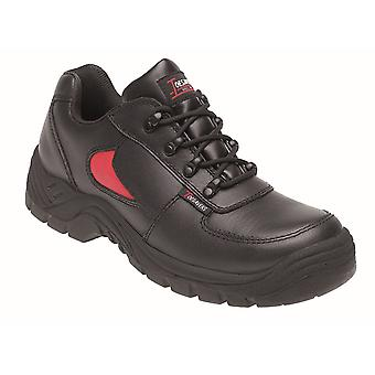 Toesavers Black/Red Leather Safety Trainer 3413 with Dual Density Sole & Midsole