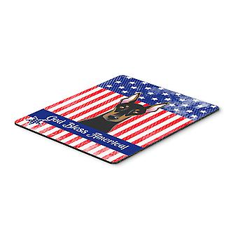 God Bless American Flag with Doberman Mouse Pad, Hot Pad or Trivet BB2175MP