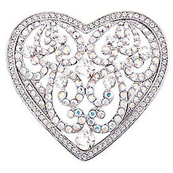Butler & Wilson Fancy Cut Out Heart Brooch Crystal