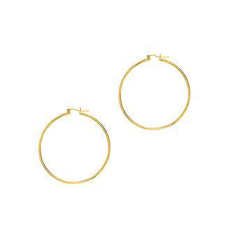 14k Gelb Gold 2 mm großen röhrenförmigen Creolen