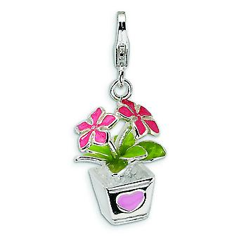Sterling Silver 3-D Enameled Potted Flowers With Lobster Clasp Charm - 3.8 Grams - Measures 30x13mm