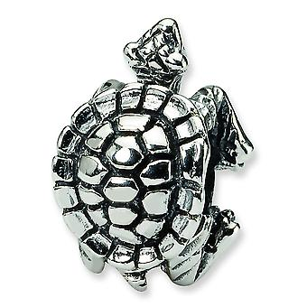 Sterling Silver Antique finish Reflections Turtle Bead Charm