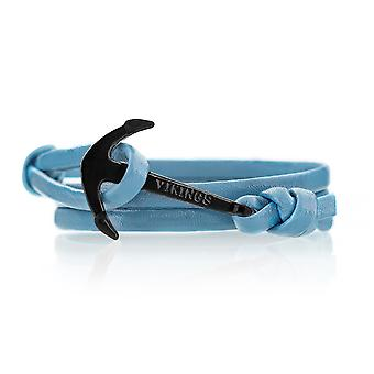 Vikings anchor bracelet leather in turquoise with anchor in black